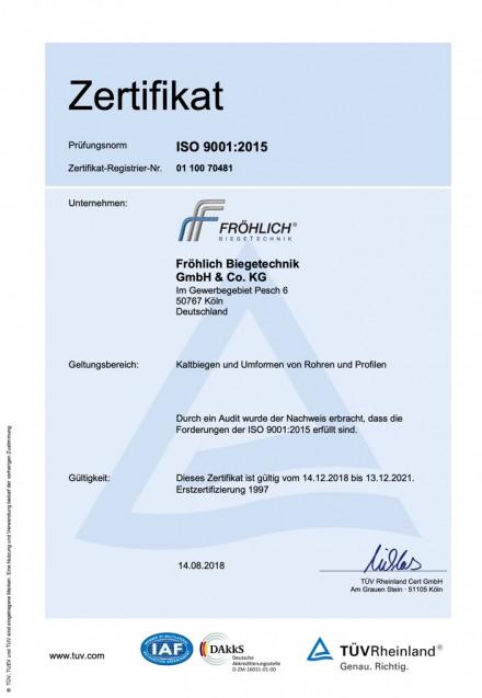 Zertifikat 9001:2015 DE
