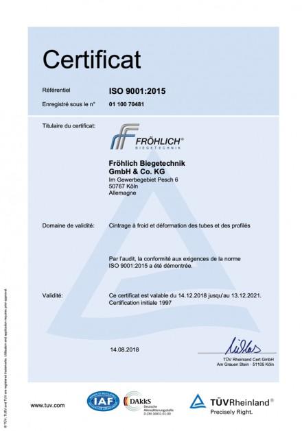 Zertifikat 9001:2015 FR