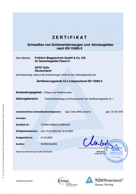 Zertifikat Schweißen von Schienenfahrzeugen...