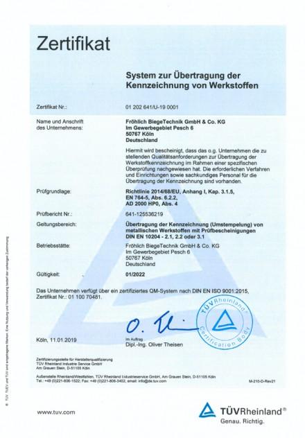 Zertifikat Kennzeichnung von Werkstoffen